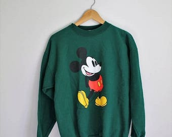 SPRING SALE 80s Mickey Mouse Sweater, Disney Sweatshirt, Mickey Sweatshirt, Athletic Sweater, Raglan Green Mickey Mouse Oversize Slouchy Swe