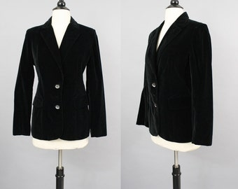 vintage 70s Black Velvet Plush Fitted Blazer Jacket by Koret / Small