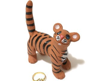 Tiger Ring Holder, Hand-Built Tiger Sculpture, Engagement Ring Holder, Ceramic Tiger Art
