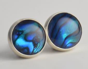 blue abalone paua shell 8mm sterling silver stud earrings pair
