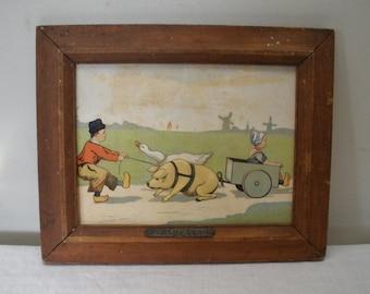 Vintage Framed Dutch Boy & Girl Partnership Pig Goose Print