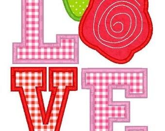 LOVE Rose Machine Embroidery Applique Design
