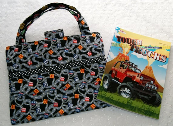 Child coloring book and crayon tote route 66 travel for Arts and crafts tote bags