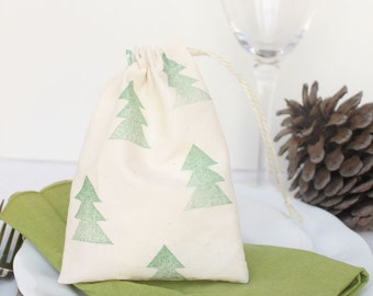 Drawstring calico Christmas tree Favour Bags. Calico Santa Sack. Hand stamped Christmas tree design x 10 Small & big sizes.
