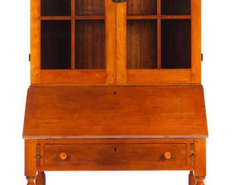 American Cherry Sheraton 2 Piece Bookcase Secretary Cabinet 79h39w23.5d Shipping is not free