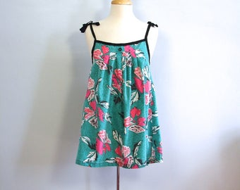 Vintage Teal and Pink Baby Doll style Tunic Top Smock Top or Maternity Top