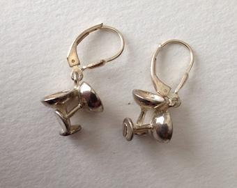 Martini Glasses Earrings Sterling Silver Pierced