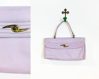 Vintage 1960s Light Lavender Pastel Purple Vinyl Handbag