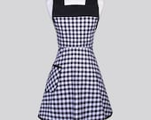 Womans Vintage Bib Apron / Retro Half Inch Black Gingham Floral with Over the Head Fitting Cute and Feminine Full Coverage Cooking Apron