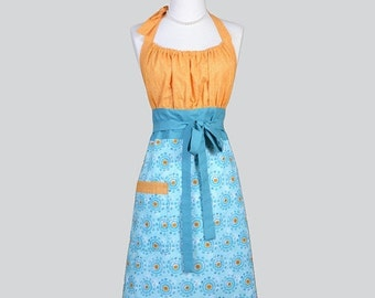 SALE Cute Kitsch / Womens Retro Apron in Modern Chef in Turquoise Aqua Blue and Orange Vintage Style Kitchen Apron