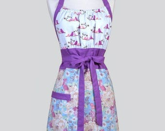 SALE Cute Kitsch Womens Apron . Blue Violets Spring Floral with Love Birds Retro Vintage Style Kitchen Chef Apron with Pockets