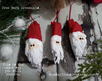 Set 3 Rustic Wood Tree Bark Santa Christmas Ornament / Hand Painted / Gift Tag / Package Tag / Red / OOAK / Ready to Ship