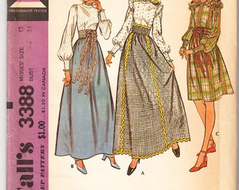 Vintage 1972 McCall's 3388 UNCUT Sewing Pattern Misses' Skirt and Blouse Size 12 Bust 34