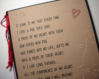 MY DOG'S HEART - Handmade Sympathy Greeting Card (pet sympathy, pet lover)