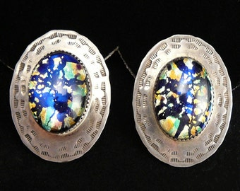 BIG Sterling & Glass Foil Opal Earrings BJB Navajo