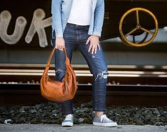 Hobo slouch bag in brown leather, shoulder everyday bag small shoulder bag slouchy purse hobo purse women small bag - Mini Kallia bag