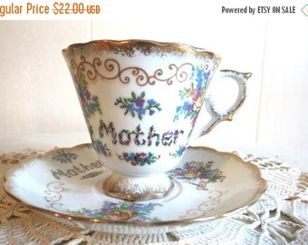 SALE Vintage MOTHER China Tea Cup and Saucer