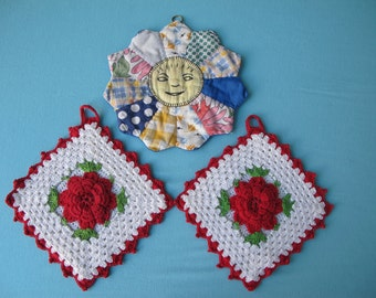 3 Potholders Pot Holders 1940s Hand Crocheted Red and White Roses Flowers Patchwork Sun Flower