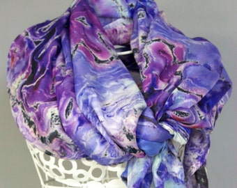 Scarf, Shawl, Bridal Party, Wedding Wrap. Abstract Floral Photography.  Lavender Bouquet Design.