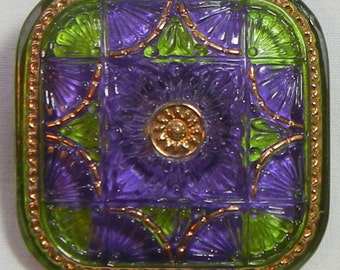 Quilt Square Czech Glass Button