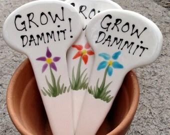 Grow Dammit plant market garden stake