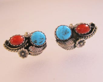 Navajo Native American Turquoise Coral Earrings Pierced Sterling Silver Vintage Jewelry Jewellery