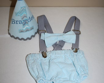 blue and gray baby boys first birthday outfit, boys cake smash outfit, 1st birthday hat, bow tie, diaper cover bloomers, suspenders