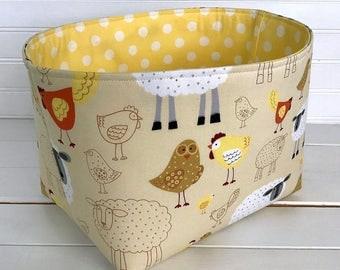 Storage, Basket, Fabric Bin, Organizer, Nursery Decor, Diaper Storage - Farm Animals, Sheep, Lambs, Light Yellow, Chicken