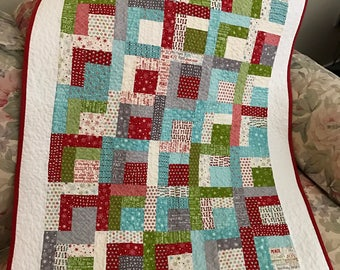 Christmas Cookie Exchange Modified Log Cabin Quilt Wall Hanging or Table Topper