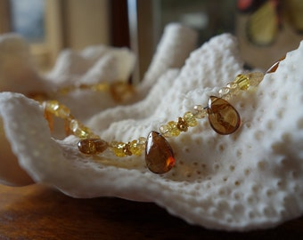 Gold grossular garnet teardrops and yellow citrine beaded necklace