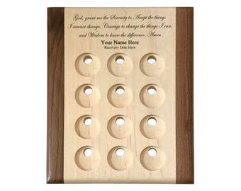 8x10 Deluxe Personalized Serenity Prayer Recovery Medallion Holder Display Plaque - 12 Coin Display Plaque for AA and NA 12Step Tokens