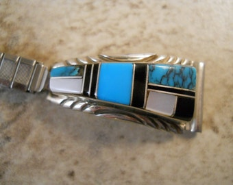 Women's Turquoise Jet Mother of Pearl Sterling Silver Watch Tips with Band