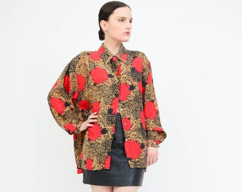 Vintage 90s Oscar De La Renta Blouse - Floral + Leopard Print Silk Blouse - Collared Button Up Oversize Shirt - Small Medium S M