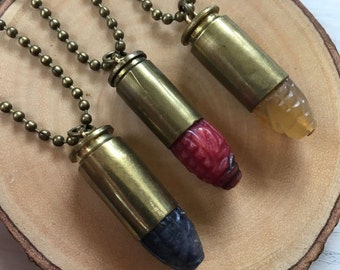 Carved Stone & Bullet Necklace (1) - Hand Carved Jade and .38 or .40 Caliber Bullet Necklace - 6 Colors to Choose From