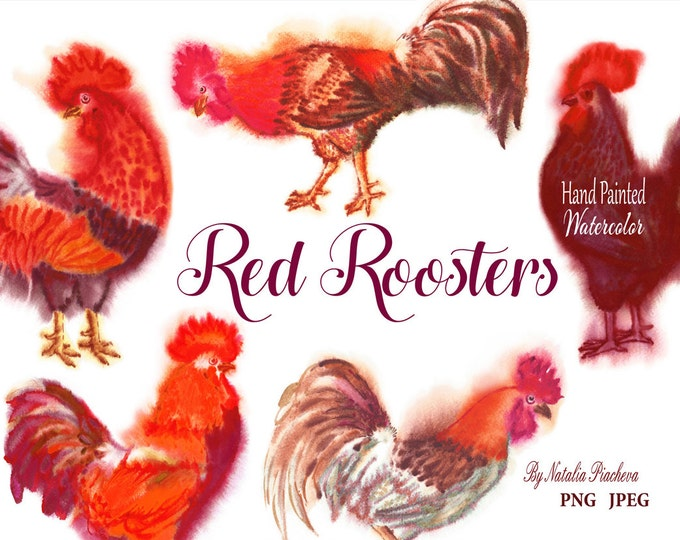 Red Watercolor Roosters, Clip Art, Clipart, Chinese new year, 2017, cock, watercolor, hand drawn, fire, Christmas, bird