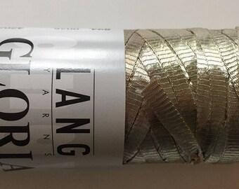 Lang Gloria Ribbon Yarn #26 Beige / Muted Gold Ribbon - 50 gram 98 yards