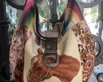 Vintage Horse Needlepoint Western Serape, Velvet Chenille Handbag