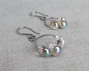 Gunmetal Gray Earrings, Gray Dangle Earrings, Lampwork Earrings Gray Dichroic, Dichroic Gray Dangles, Sterling Silver Earrings Oxidized Gray