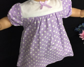 Doll Clothes For 15 Inch Baby Dolls, Handmade to fit like American girl bitty baby, Lavender with White Polka Dots Print Nightgown