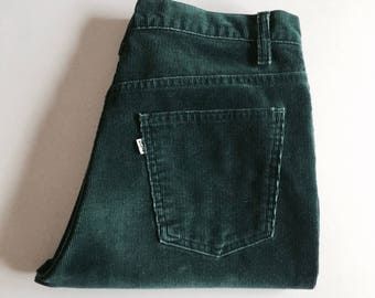 Vintage Men's 80's Levi's, Green Corduroy Pants (W34 x L27)