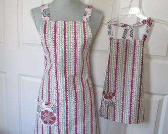Mom and Me Stripes and Floral Apron Set