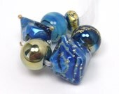 Lampwork beads  -  Eclectics in Blue and Gold  -  marine blue, lapis blue, ocean blue, golden beads, silver rich glass, loose glass beads