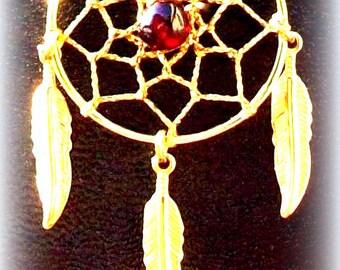 Gold & Garnet Dream catcher necklace - Seminole Wind ll