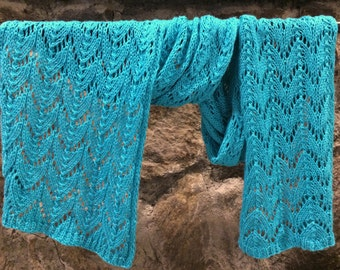 Waterfall Hand Knit Lace Wrap