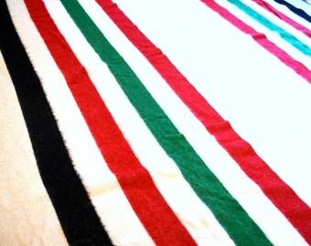 Vintage Wool Hudson's Bay Style Striped Blanket