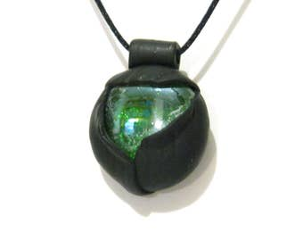 Green and Black Sculpted Pod Pendant - Leaf Texture  - Gypsy Mystic - Sculpted Clay Focal - Black Cord Necklace - Gift for Her Under 20