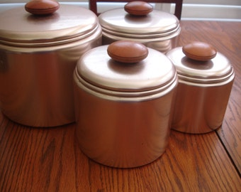 Mirro Canister Set of 4 Retro Copper Tone Canisters with Wood Knobs Vintage