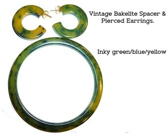 Bakelite Set. Spacer Bangle and Pierced Earrings. Inky Green and Yellow Vintage Bakelite. Tested. Guaranteed Authentic.