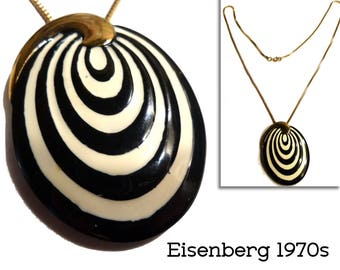 1970s Op Art Vintage Eisenberg Enamel Necklace. Inspired by Vasarely. Black and Off-White. Groovy Necklace.