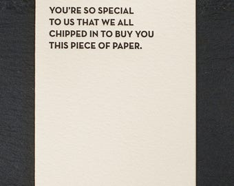 so special. letterpress card. #930